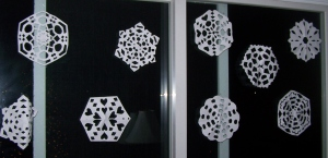Snowflakes made by the kids (with a little help from me)