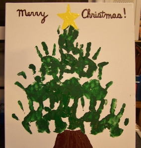 Hand Print Christmas Tree (a present for the grandparents!)