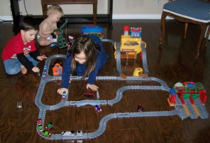 After we took down the Chrstmas tree there was plenty of room for some trains!
