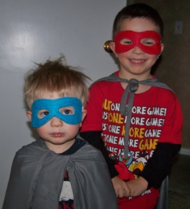 Superhero Brothers- they ran around the house for at least an hour in their costumes!