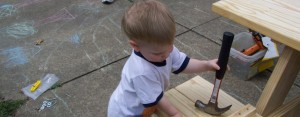 Little Bear was under the impression that Daddy needed some help building the picnic table!