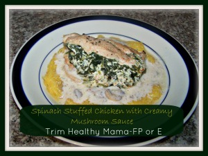 Spinach Stuffed Chicken with Creamy Mushroom Sauce